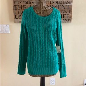 NWT St. John's Bay Green Cable Knit Sweater M